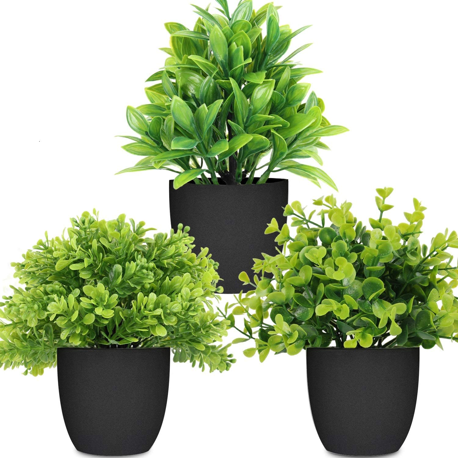 LELEE Artificial Potted Plants Mini Fake Plants, 3 Pack Small Eucalyptus Potted Faux Decorative Grass Plant with Black Plastic Pot for Home Decor, Indoor, Office, Desk, Table Decoration