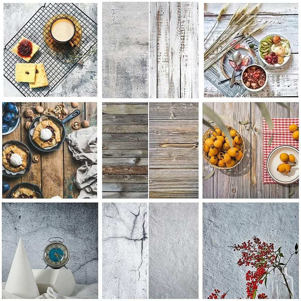 Meking 22x34in Food Photography Backdrops Paper, 3 Sheet 2-in-1 White Wood & Cement Texture Photo Background for Small Product Jewelry Cosmetics Makeup Table Top Shooting Props