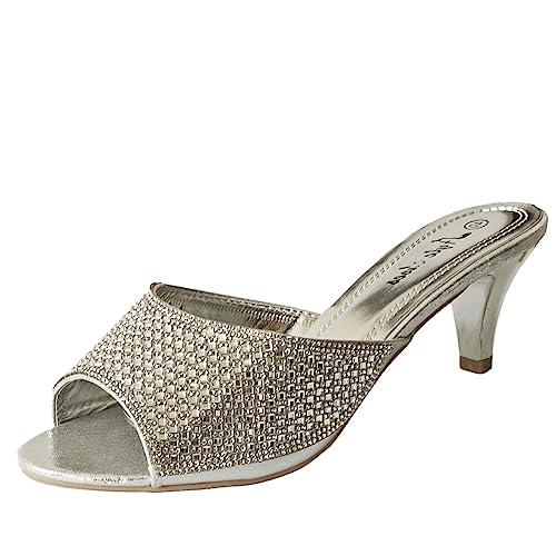 Rock on Styles Ladies Party Diamante Low Kitten Heel Wide Feet Shoes Sandals Plus Sizes-