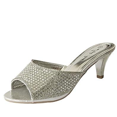 ROCK ON Styles Mujer Fiesta Diamante Bajo Gatito Tacón Ancho Feet Zapatos Sandalias Plus sizes-a 241 - Rojo, 8 UK
