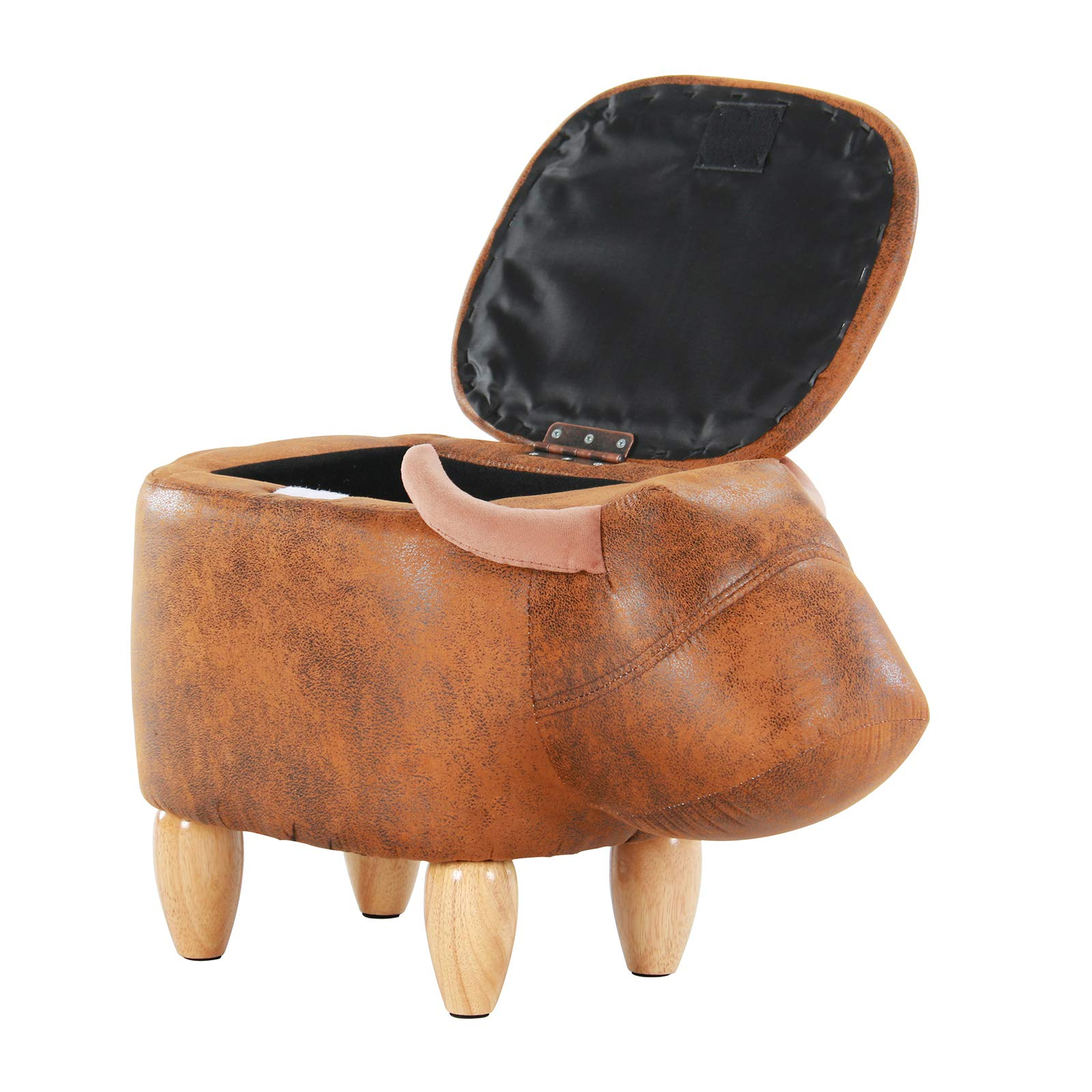 Artechworks Upholstered Ride-On Animal Storage Ottoman Footrest Stool with Vivid Adorable Animal-Like Features Creative for Kids and Adults Gift,Changing Shoes,Decoration, Toys(Brown Buffalo), Brown