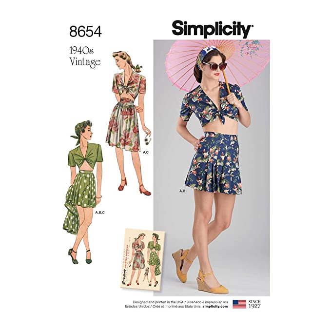 1940s Sewing Patterns – Dresses, Overalls, Lingerie etc Simplicity Vintage US8654P5 Sportswear P5 (12-14-16-18-20) $7.75 AT vintagedancer.com