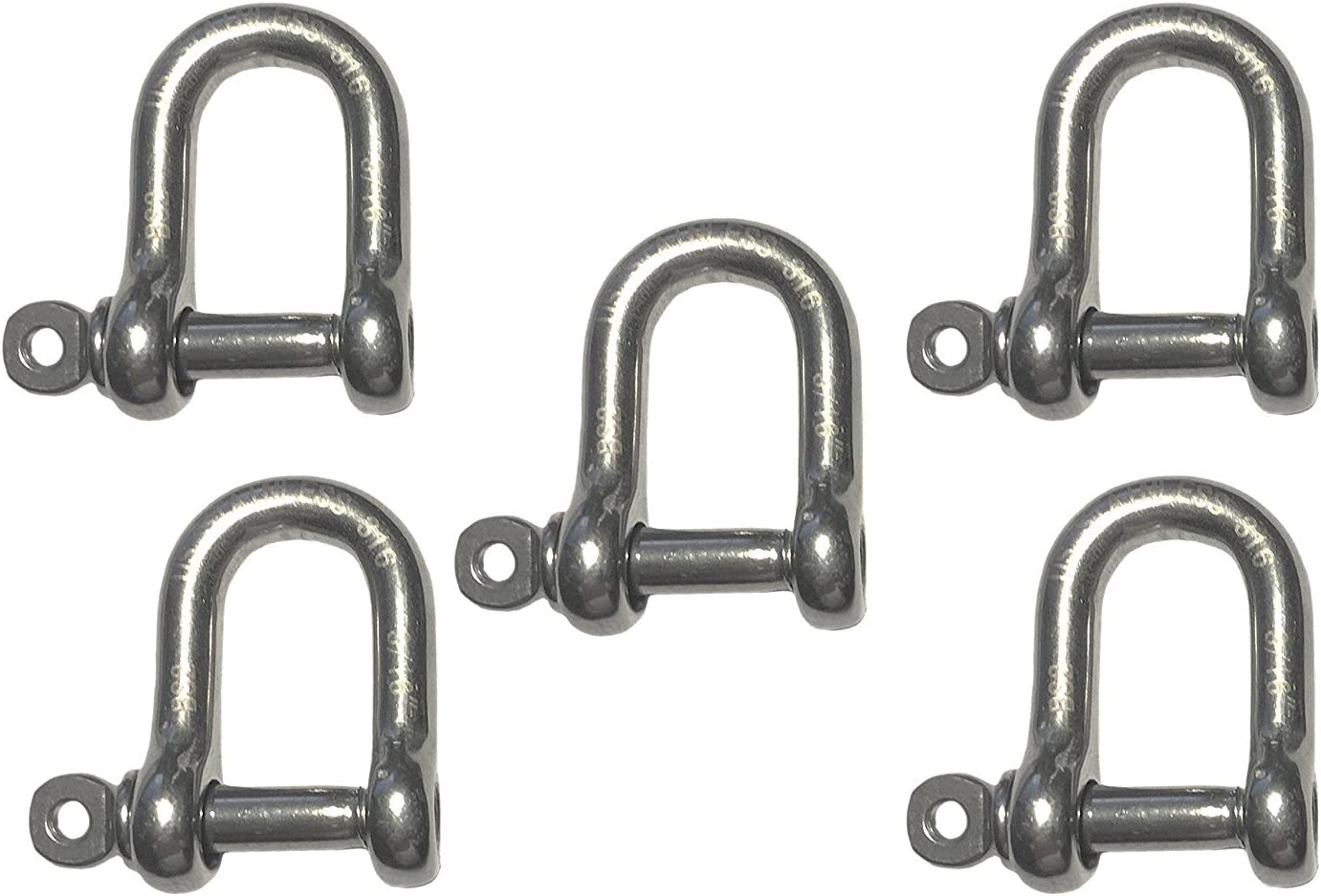 "2x 5mm 3//16/"" Marine Bow Shackle DRing 316 Stainless Steel Boat Rigging Paracord"