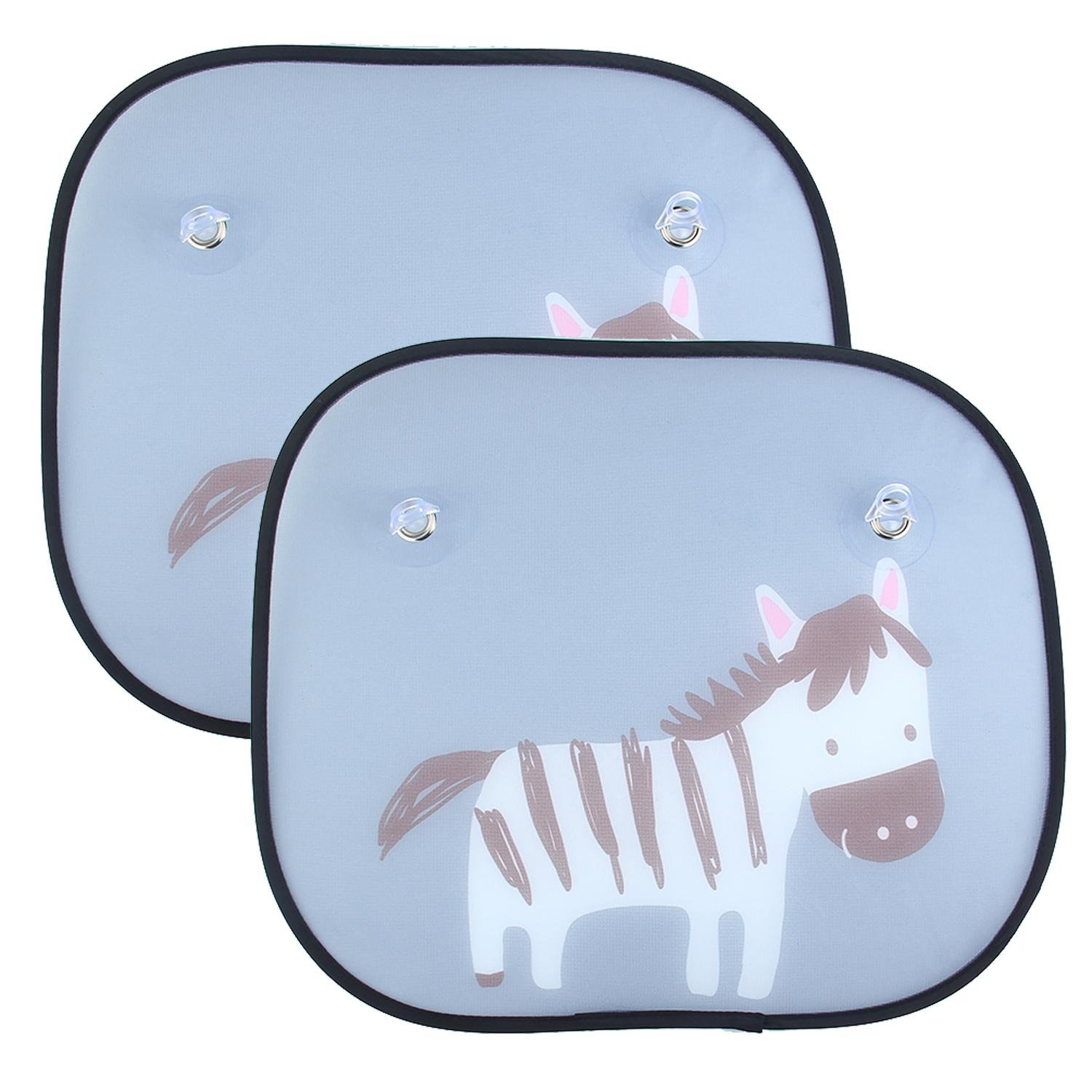 2pcs Car Window Sun Shades - KOBWA Universal Cute Animal Design Easy Installation Sun Visors with Suction Cups Blocks Harmful UV Rays Sun Glare Heat for Babies, Kids, Pets