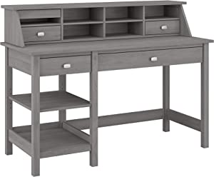 Bush Furniture Broadview Computer Desk with Shelves and Desktop Organizer, 54W, Modern Gray