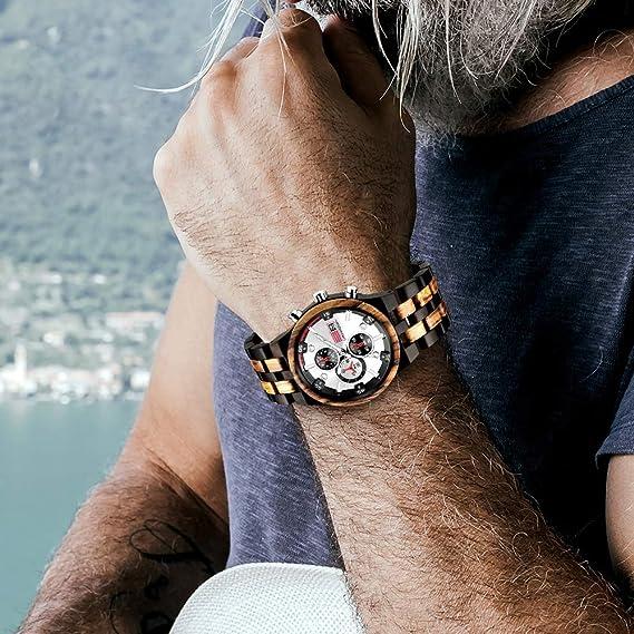 KXKSL Relojes Madera multifunción,Smartwatch Reloj Inteligente ...