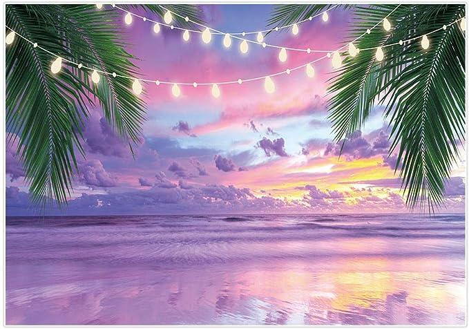Allenjoy Fotohintergrund Für Sommer Tropisches Meer Strand Lavendel Sonnenuntergang Meer Palme Lichter Hintergrund Für Hochzeit Geburtstag Party Banner Babyparty Fotostudio Requisiten 2 1 X 1 52 M
