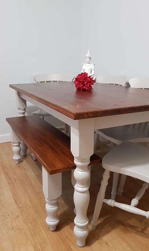G/én/érique Farmhouse Table de Salle /à Manger avec 4 chaises et Banc Assorti 1,5 m