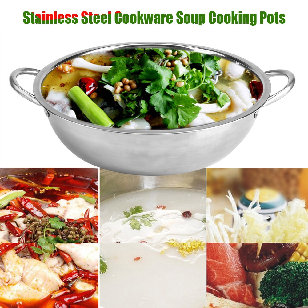 30CM Stainless Steel Shabu Hot Pot Induction Cooker Home Kitchen Cookware Soup Cooking Pots for Cooktop Gas Stove(30cm)