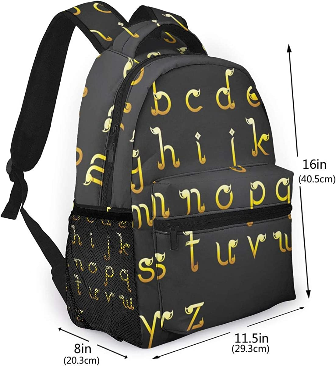 Student Backpack Alphabet Design In Thai Style Unisex Laptop Bag Lightweight Casual Rucksack For Commuter School And Traveling Fits 15.6 Inch Laptop