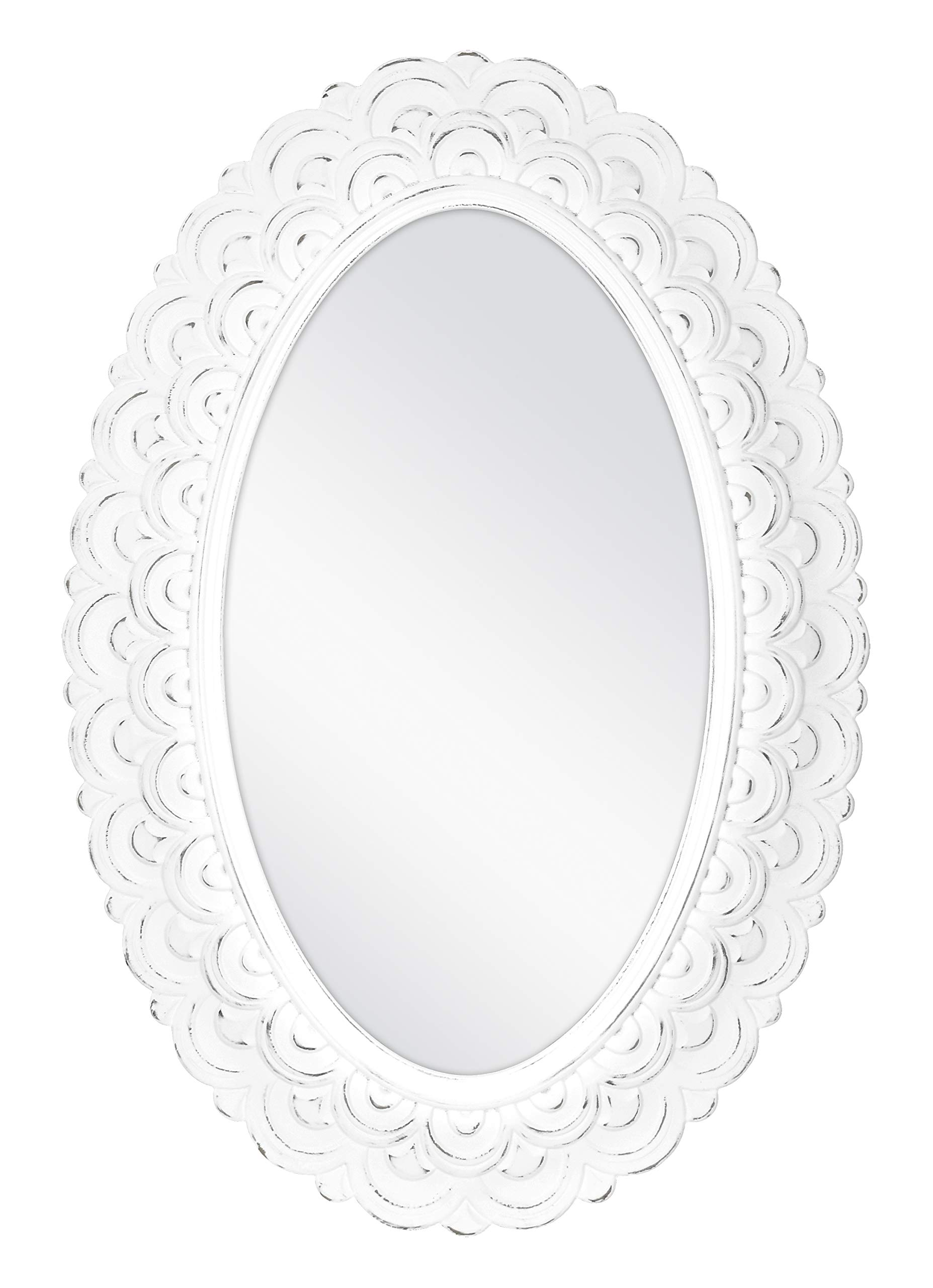 MCS Scalloped Province Oval Wall Mirror, 19x28 Inch Overall Size, Antique White by MCS
