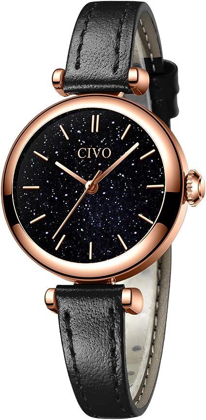 CIVO Relojes Mujer Minimalista Impermeable Negro Reloj de ...