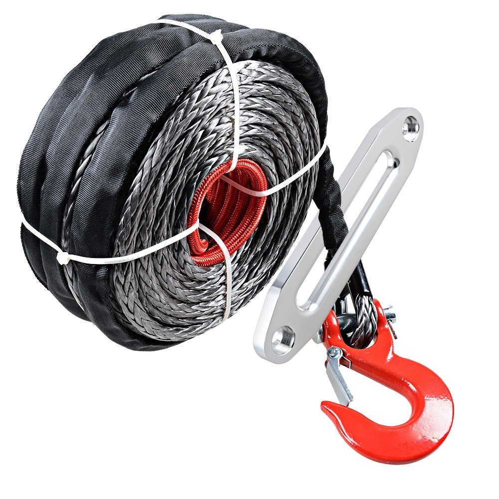 95ft x 3/8'' Synthetic Winch Rope 20500lbs w/ Protective Sleeve + RED Hook + 10'' Aluminum Hawse Fairlead