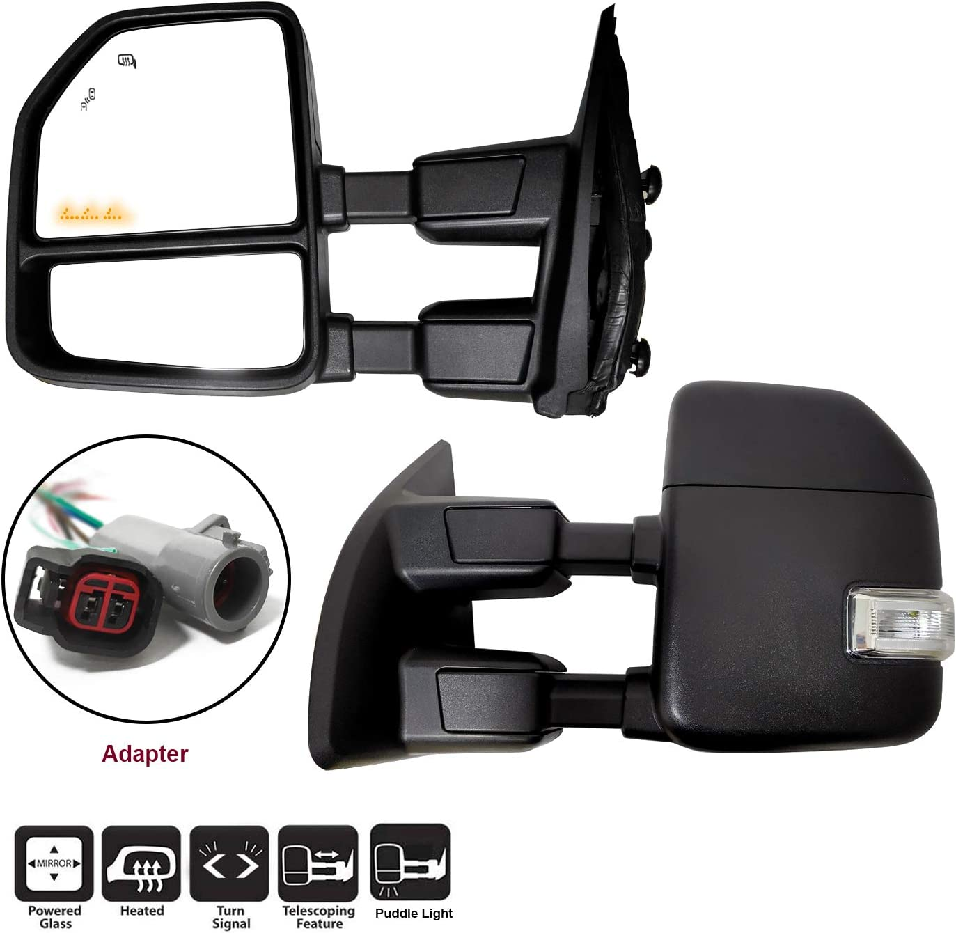 AERDM New towing mirror Black Housing fit Ford Super Duty F-250 F-350 F-450 F-550 1999 2000 2001 2002 w//Blind Spot with Turn Signal,Clearance and Auxiliary Lamp