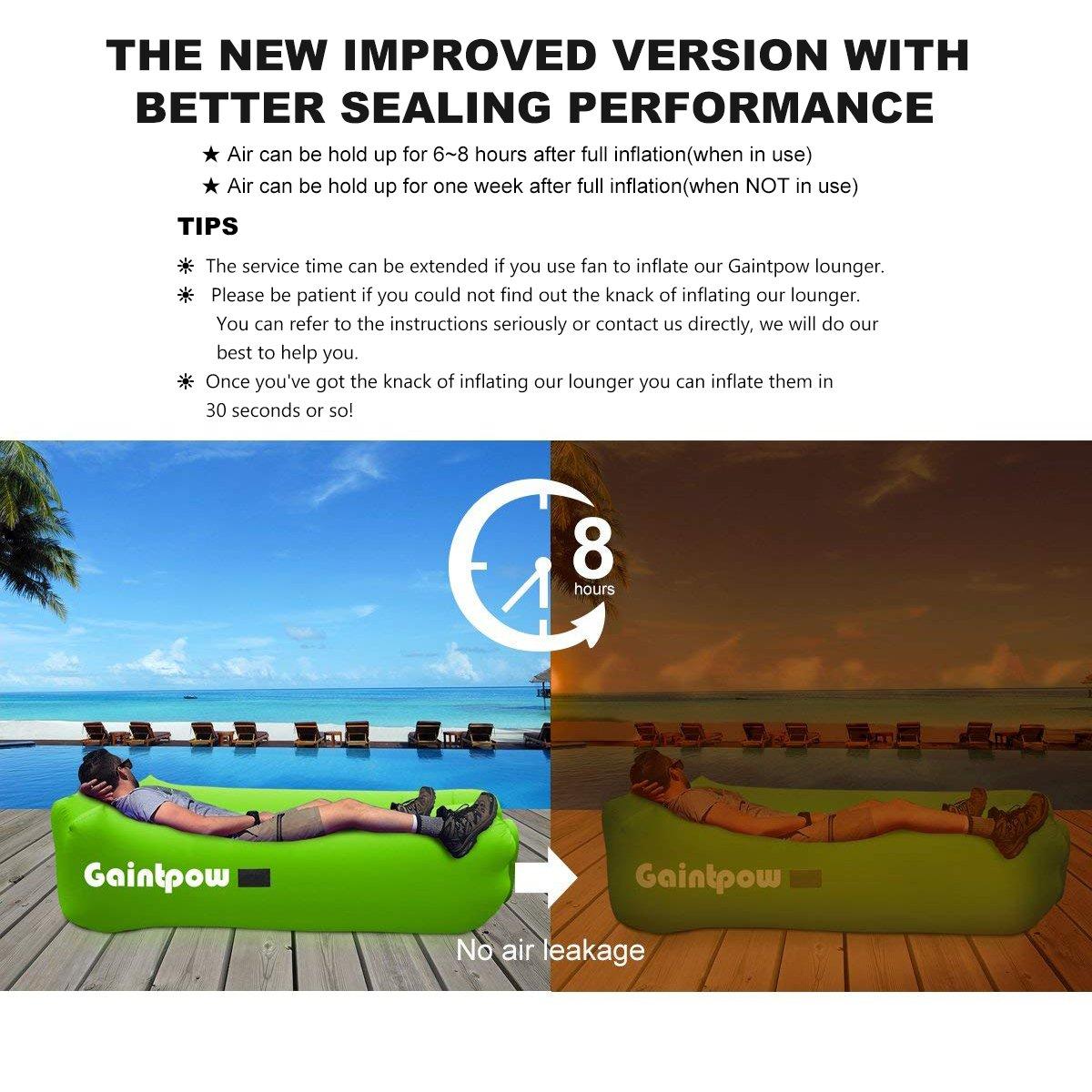 Verde Impermeable con Tela m/ás Gruesa port/átil Gaintpow Tumbona Inflable soporta hasta 500 Libras Piscina Playa Senderismo sof/á Inflable sof/á para Camping