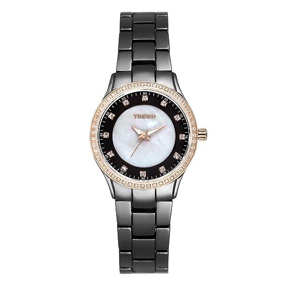 Time100 reloj cuarzo de mujer Fashion Reloj pulsera de joya case de concha para mujer correa largo de color blanco material de cerámica: Amazon.es: Relojes