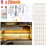 Under Cabinet LED Lighting kit, 6 PCS LED Strip Lights with Remote Control Dimmer and Adapter, Dimmable for Kitchen Cabinet,Counter,Shelf,TV Back,Showcase 2700K Warm White, Bright, Timing