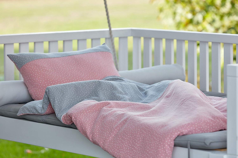 Bettbezug aus Baumwolle handgearbeitete Bettw/äsche gefertigt in der EU KraftKids Bettw/äsche-Set Musselin grau Punkte Musselin rosa Punkte aus Kopfkissen 40 x 60 cm und Bettdecke 135 x 100 cm