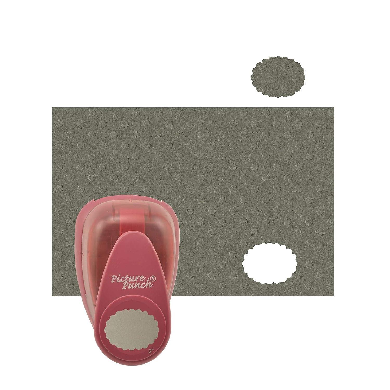 Vaessen Creative Perforatrice Ovale Smerlato per DIY Scrapbooking e Creazione di Biglietti Grande Fustellatrice per Carta Jumbo XL