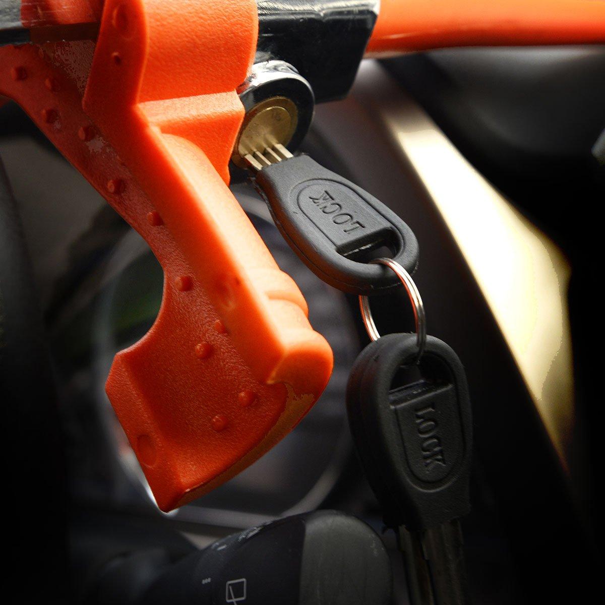 Lenkradschloss aus Stahl Zerone Lenkradsperre 2 Schl/üssel einfach zu verwenden Diebstahlsicherung
