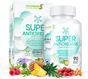 VEGEPOWER Anti Aging 12 in 1 Antioxidants Promotes Cardiovascular Health, Circulation & Youth Super Food Supplement 90 Count-Green Tea, Rosemary for Immune Support-45 Days Supply