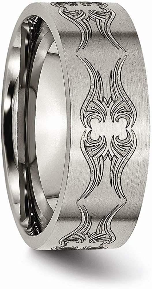 Wedding Bands Other Themed Bands Titanium Flat 8mm Laser Design Brushed Band Size 12