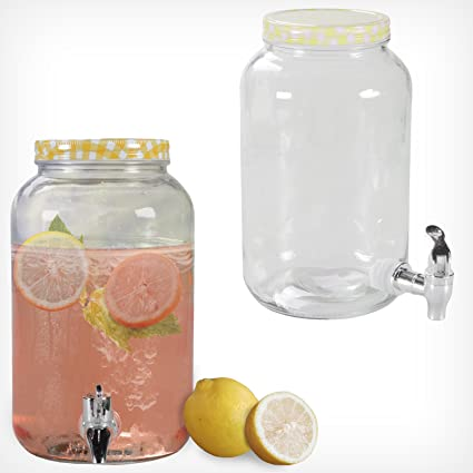 Druline Dispensador de Bebidas con Grifo (5 l, Cristal rústico)