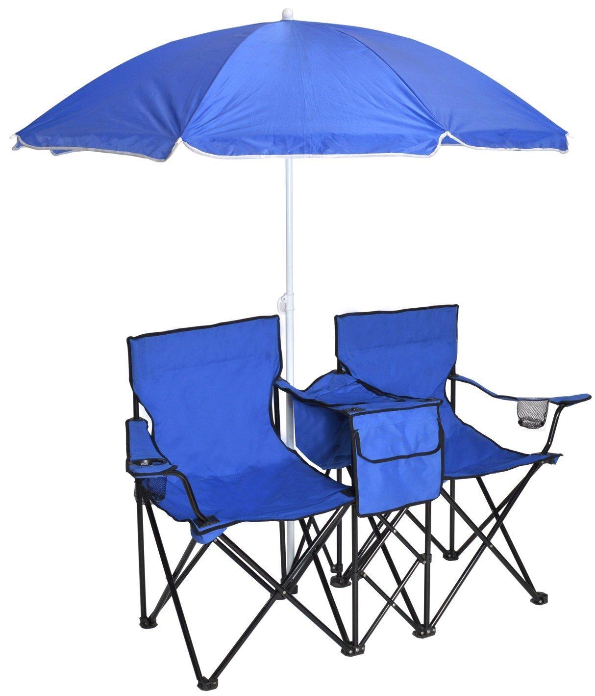 TMS Double Chair w/ Umbrella Portable Folding Table Cooler Pinic Camping Beach Chair Blue [並行輸入品] B0742GF1JX