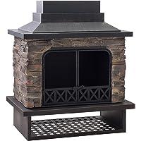 Sunjoy A304001100 Gwendolyn Wood Burning Fireplace, Size: 41. 93″ L x 24. 02″ W x 48. 03″ H, Black