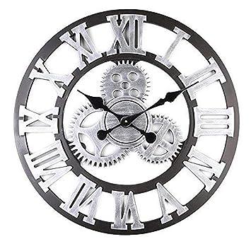 Mancru Équipement 3D Industriel Horloge Murale Ronde Grande Taille en Style  Vintage muet Horloge Murale 16 6b84dafc0793