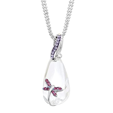 d1d19034f Crystaluxe Dragonfly Pendant Necklace with White & Purple Swarovski  Crystals in Sterling Silver