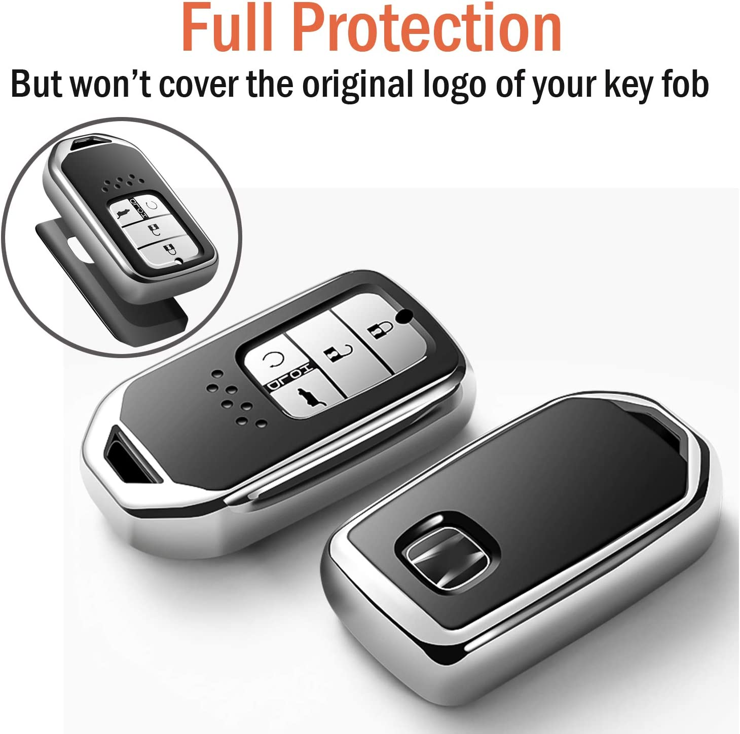 Uxinuo Compatible with Honda Key Fob Cover Case for Honda Accord Civic CR-V CRV Pilot EX-L Touring Smart Premium Soft TPU Full Cover Protection Smart Remote Keyless Key Fob Shell