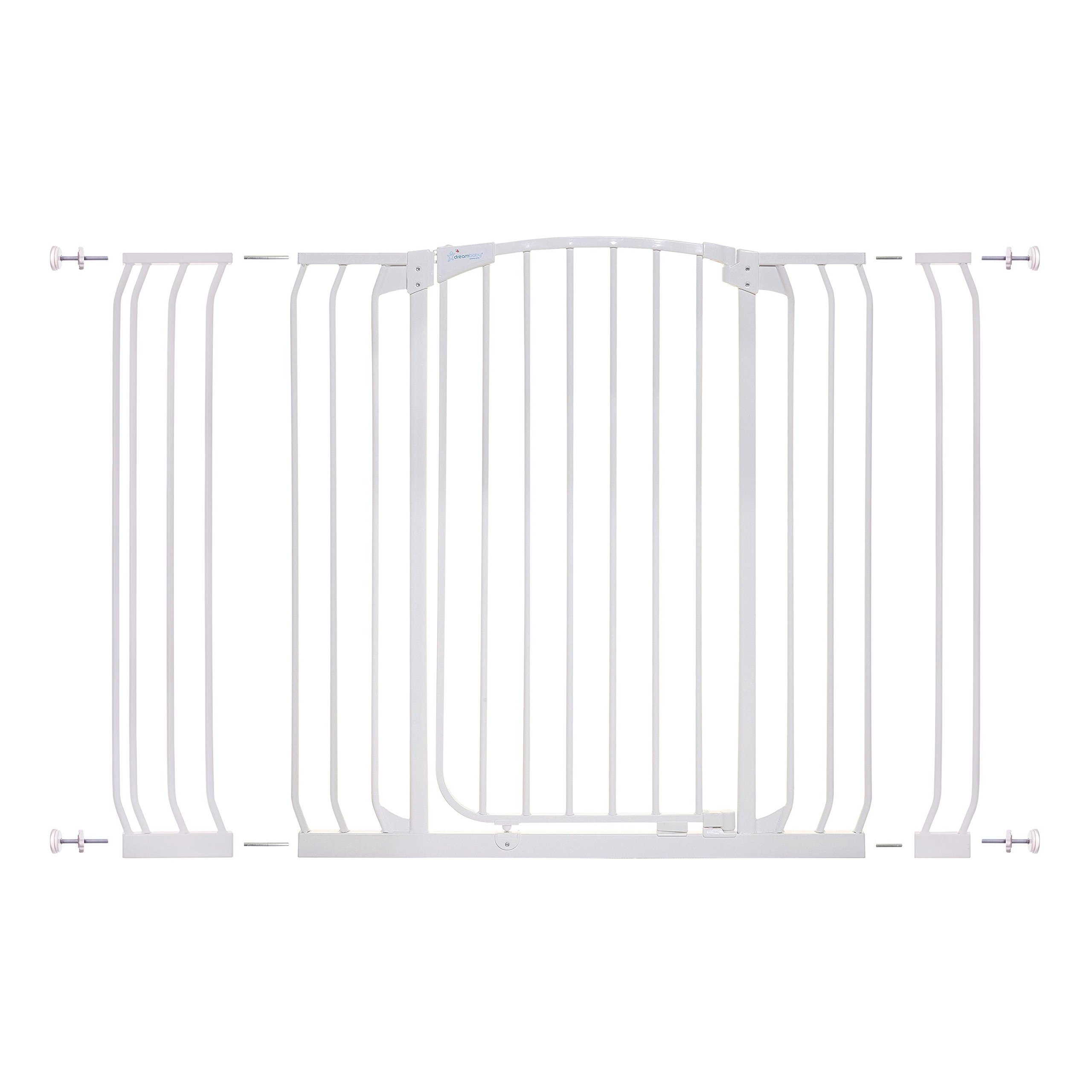 Dreambaby Chelsea Extra Tall and Wide Auto Close Security Gate in White with Extensions