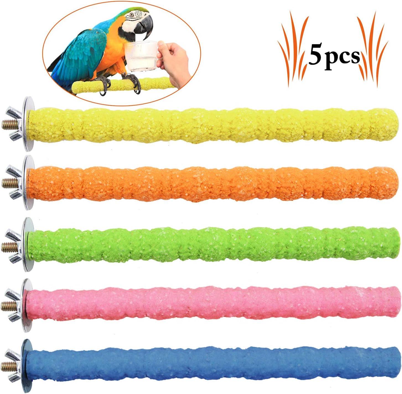 Legendog 5PCS Percas De Aves Juguete Parrot Stand Entrenamiento Interactivo Jaulas De Pájaros Juguete Loro Jugar (Perca-Nuevo)