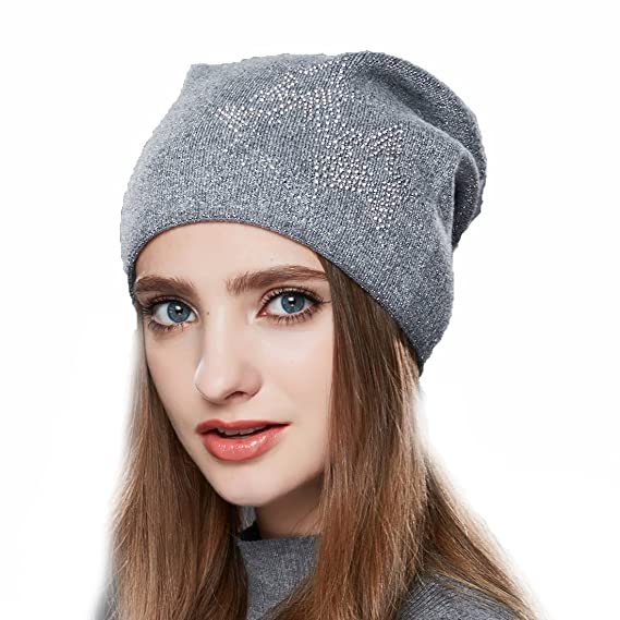 URSFUR Bonnet Jersey Beanie Strass Femme Laine Chapeau Bonnet Tendance  Tricot Fille Hiver gris 68c9760bbc7
