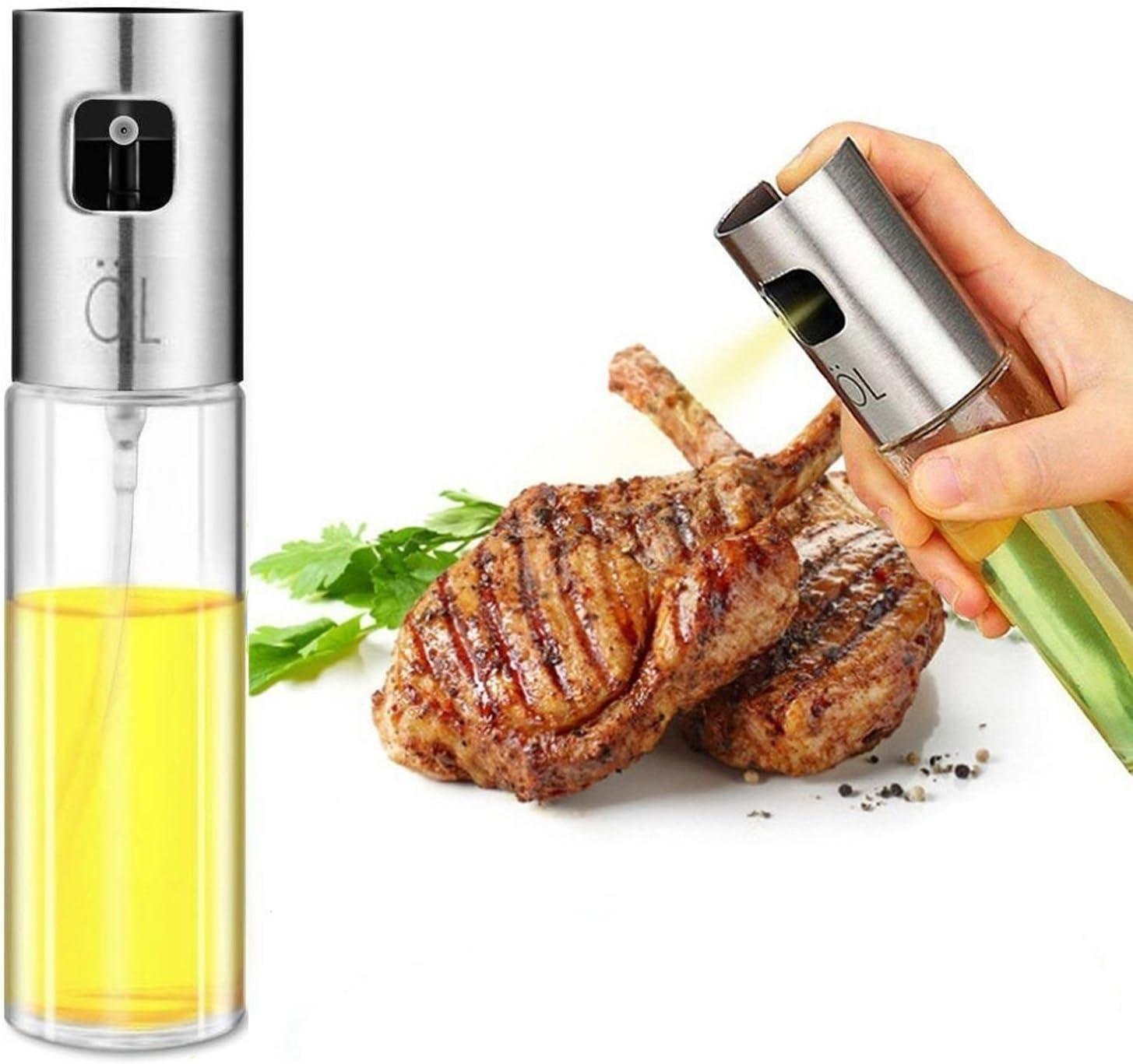 Vinegar Bottle Outdoor Portable BBQ Spray Oil Can Drum Shape Kitchen Gadget Oil Bottle for Air Fryer 200ml Stainless Steel and Glass Spray Bottle Sprayer Dispenser for Olive Oil for Cooking Baking