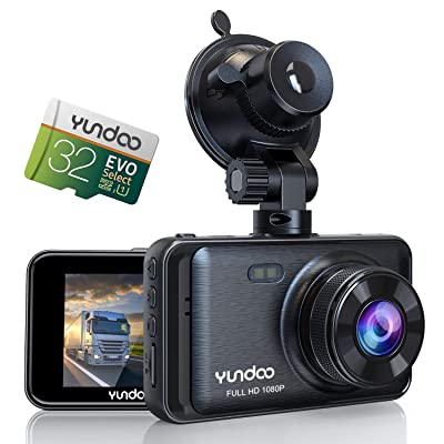 Dash Cam for Cars, YUNDOO Car Camera Contains 32GB SD Card, Full HD 1080P, 3 inches IPS Screen Wide-Angle Lens, G-Sensor, Loop Recording, Parking Monitoring: Car Electronics [5Bkhe0407226]