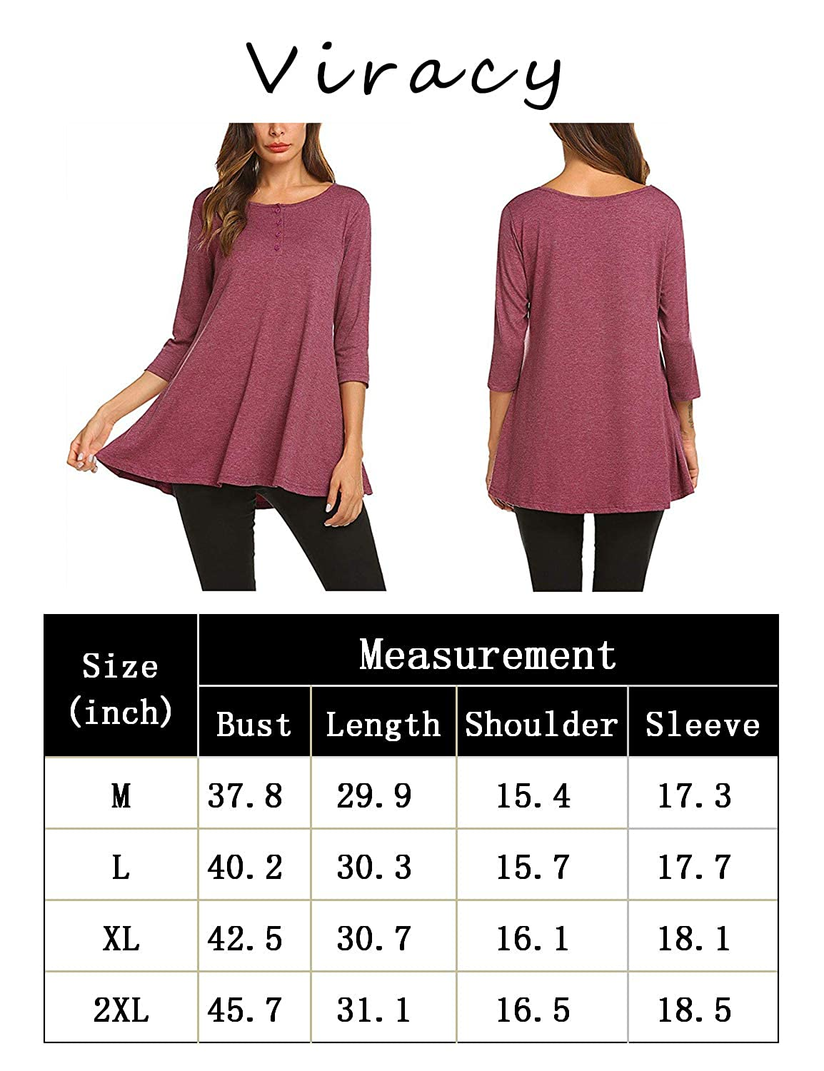 Viracy Womens Cowl V Neck Long Sleeve Loose Flare Tunic Top with ...