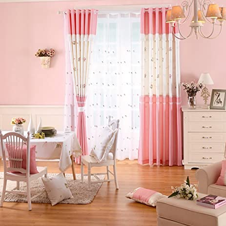 Amazon.com: Lace Princess Bedroom Window Curtains for Living Room ...