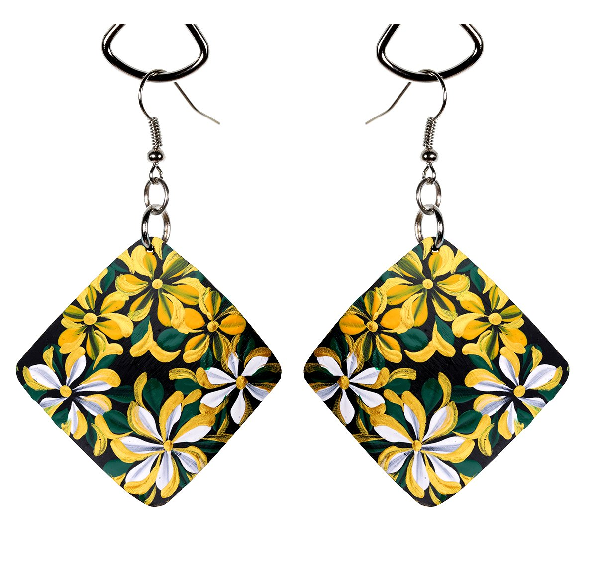 Eco Friendly Square Shape Hand Painted Coco Earrings for Women, Handcrafted Coconut Shell Earrings