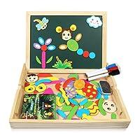 infinitoo Puzzles en Bois Magnétique Jouet Educatif et Créatif coloré avec Tableau à Double Face Magnétique | Planche à Dessin Blanc et Noir Réglable |Graffiti et Création pour Enfants 3 Ans et Plus