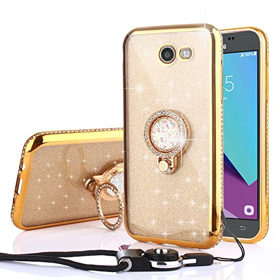 CaseHaven Galaxy J3 Case, Bling Diamond Rhinestone Glitter Sparkle Luxury  Soft Slim Case with Crystal Ring Holder Stand & Lanyard for Samsung Galaxy