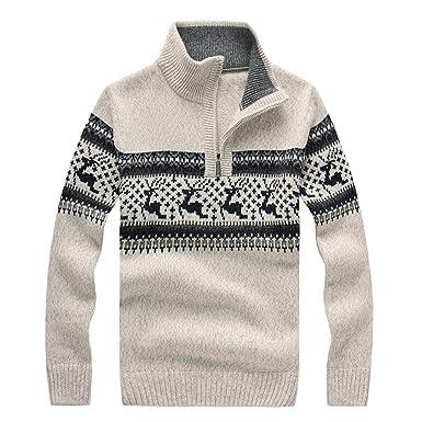 Suéter de Navidad de Hombres Amlaiworld Camisetas de Copos de Nieve de Nieve del Reno para Hombre Blusa Tops Camisa navideño Chaqueta Abrigos Niño Outwear: ...