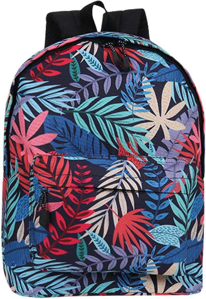 TRENSOM Women's Backpack Vintage Lightweight Casual Retro Colorful Leaves Campus Daypack