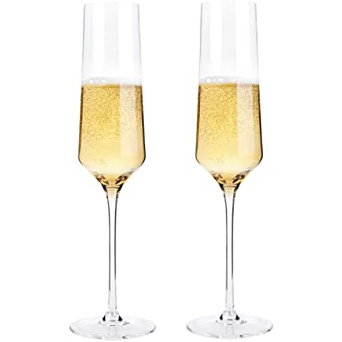 Hand Blown Crystal Champagne Flutes - Bella Vino Elegant Champagne Glasses Made from 100% Lead Free Premium Crystal Glass,Perfect for Any Occasion,Great Gift, 10 , 7 Oz, Set of 2, Clear