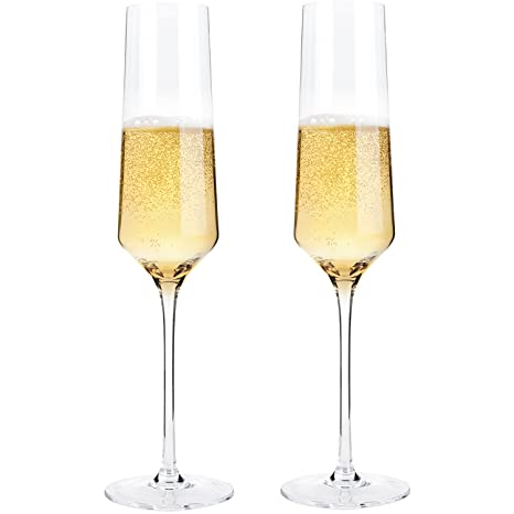 80a6c00b8d4 Hand Blown Crystal Champagne Flutes - Bella Vino Elegant Champagne Glasses  Made from 100% Lead