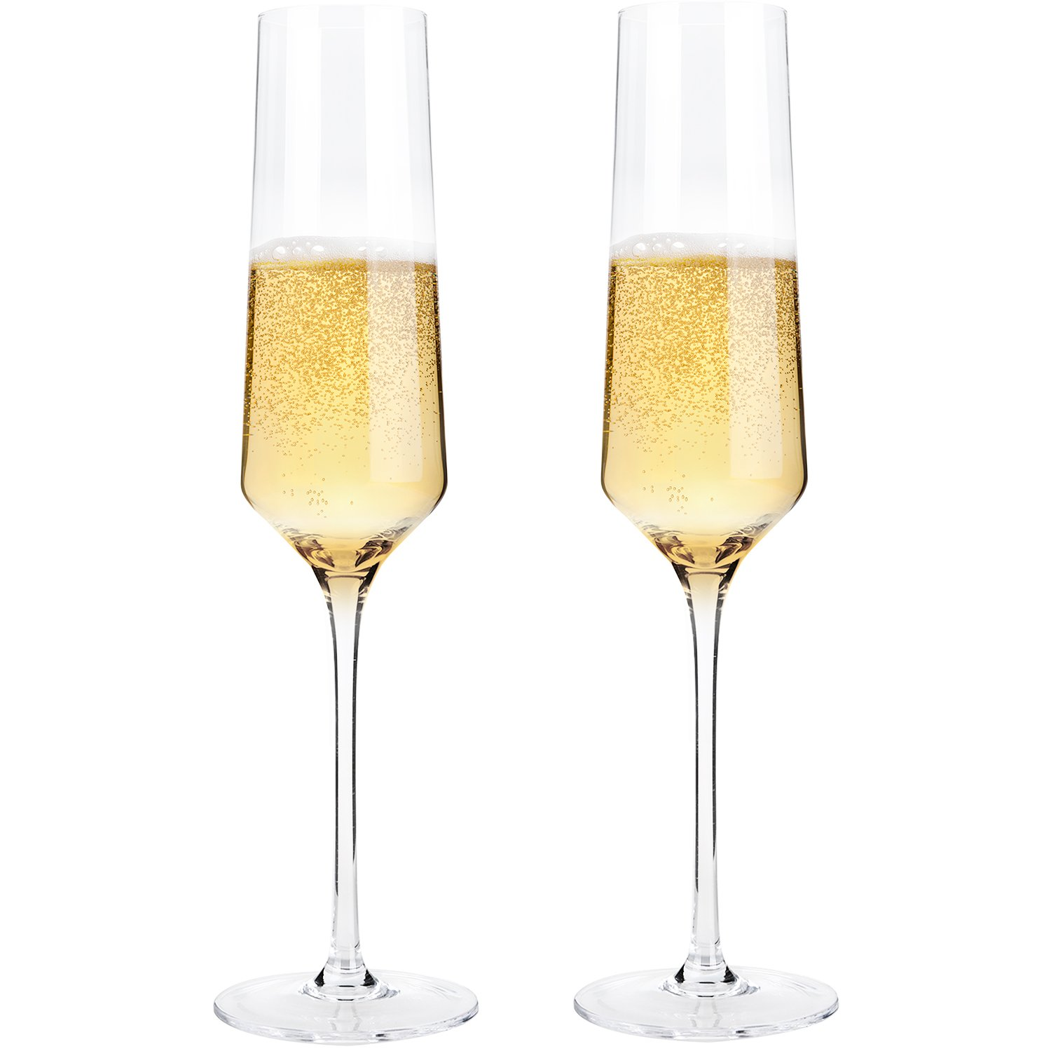 Hand Blown Crystal Champagne Flutes - Bella Vino Elegant Champagne Glasses Made from 100% Lead Free Premium Crystal Glass,Perfect for Any Occasion,Great Gift, 10'', 7 Oz, Set of 2, Clear