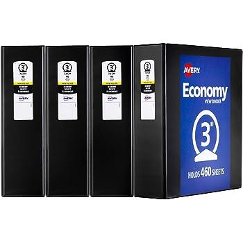 avery economy view binder 3 round rings 375 sheet capacity 4
