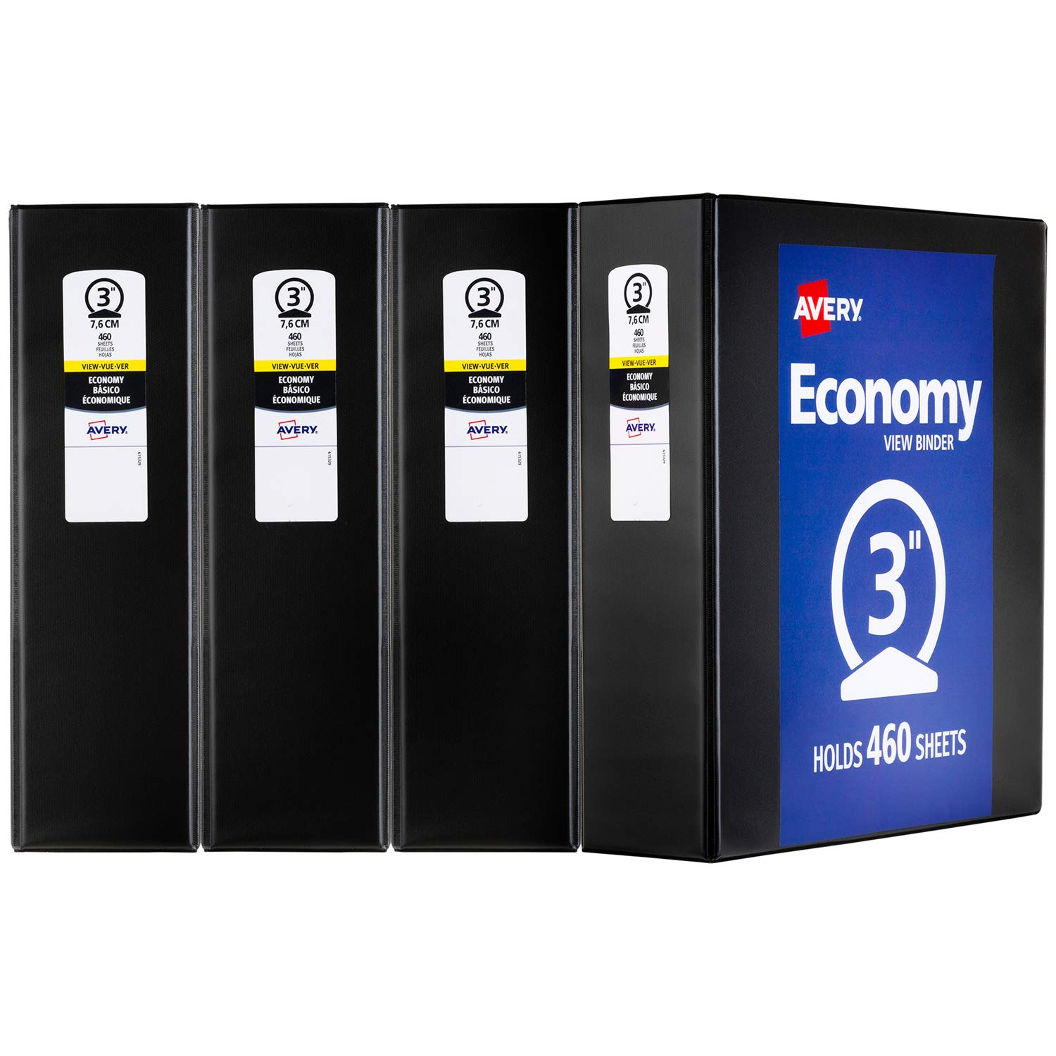 Avery Economy View Binder, 3 Round Rings, 375-Sheet Capacity, 4 Binders, Black (03361) 3 Round Rings Avery Products Corporation