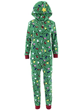 PJ Couture Women s Christmas Lights Hooded One-Piece Green Pajamas L ... 14b4fe48f